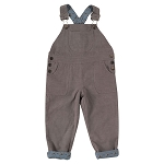 Pigeon cord dungarees charcoal with dogs