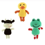 Imajo knitted duck, frog and cow