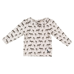 Pigeon long sleeve top peter pan collar - Zebras