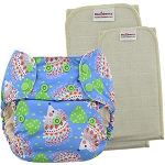Blueberry one size pocket nappy with organic inserts