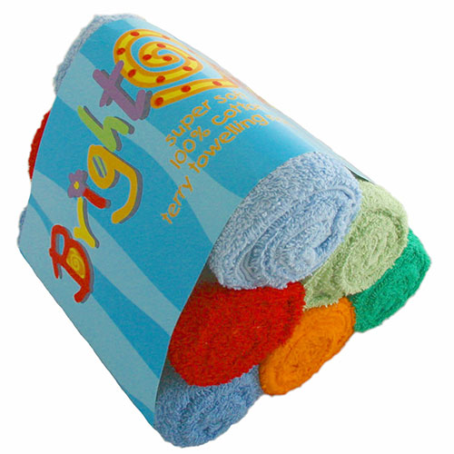 Bright bots coloured terry nappies 6 pack
