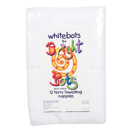 Bright bots white terry nappies 6 pack 70cm