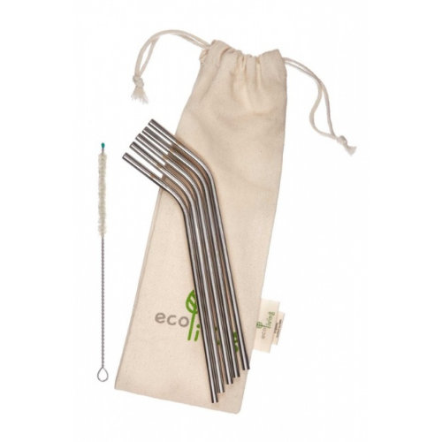 Ecoliving 5 angled stainless steel straws with plastic free brush and organic cotton pouch.