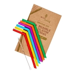 Ecoliving 6 reusable silicone straws with plant based cleaning brush. (standard or smoothie)