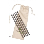 Ecoliving 5 straight smoothie stainless steel straws with plastic free brush and organic cotton pouch.