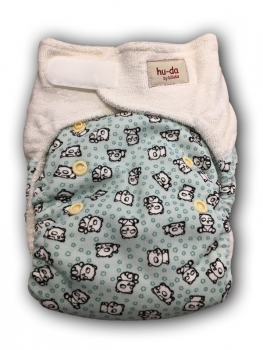 Hu-da 2.0 fitted nappy bamboo terry - Mint pandas