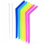 Kooleco large smoothie silicone straws 6 pack with 2 cleaning brushes