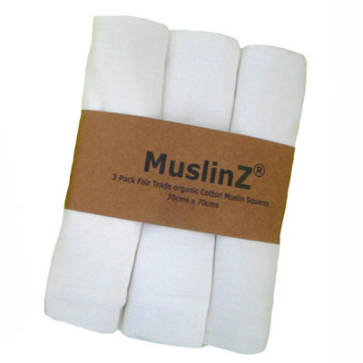 MuslinZ 3 Pack Fair Trade Organic Cotton Muslin Squares