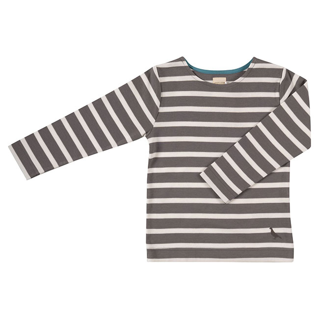 Pigeon breton long sleeve top - charcoal/white