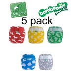 Tots bots Bamboozle Stretch 5 pack patterned with fleece liners