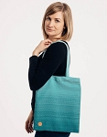Lenny lamb shopping bag - little herringbone ombre teal