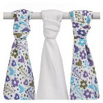 xkko bamboo flowers and birds muslins (3 pack)