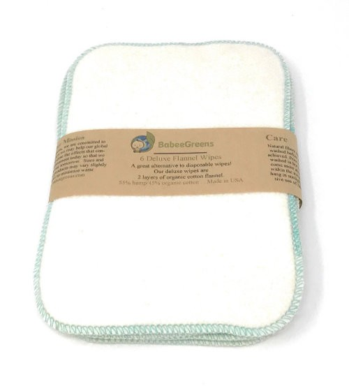 Babee greens 55% hemp, 45% organic cotton Deluxe Cloth Baby Wipes (6 Pack)
