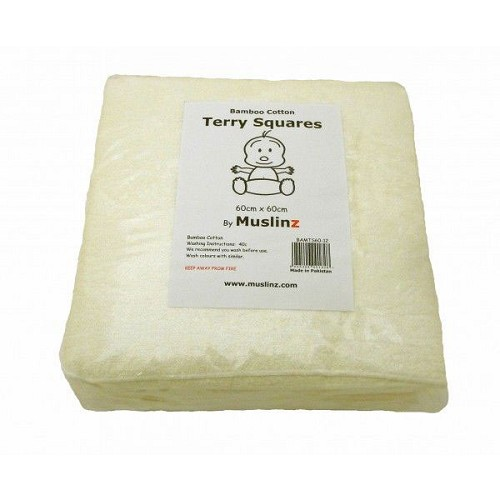 Muslinz Bamboo cotton terry squares 70 cm pack of 6